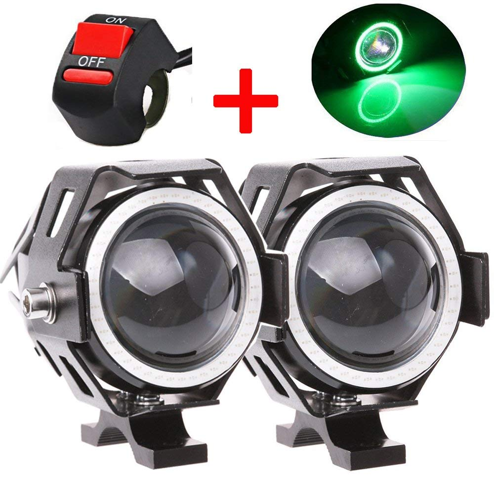 hight resolution of motorcycle headlight u7 led fog lights spotlight drl daytime driving lights strobe lights with green halo