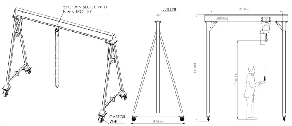 Txk Portable Mini Gantry Crane Price With Electric Hoist