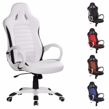 racing desk chair high toys r us back white leather gaming office with sports seat