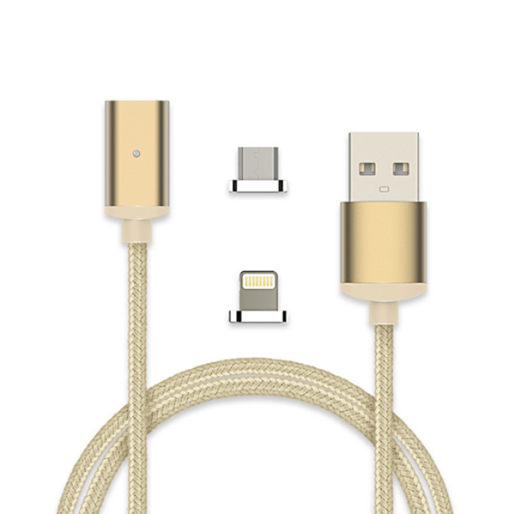 2017 Hot Wholesale 2 in 1 Flat Fast LED Charging Type C Magnetic Micro Usb Cable For Phone