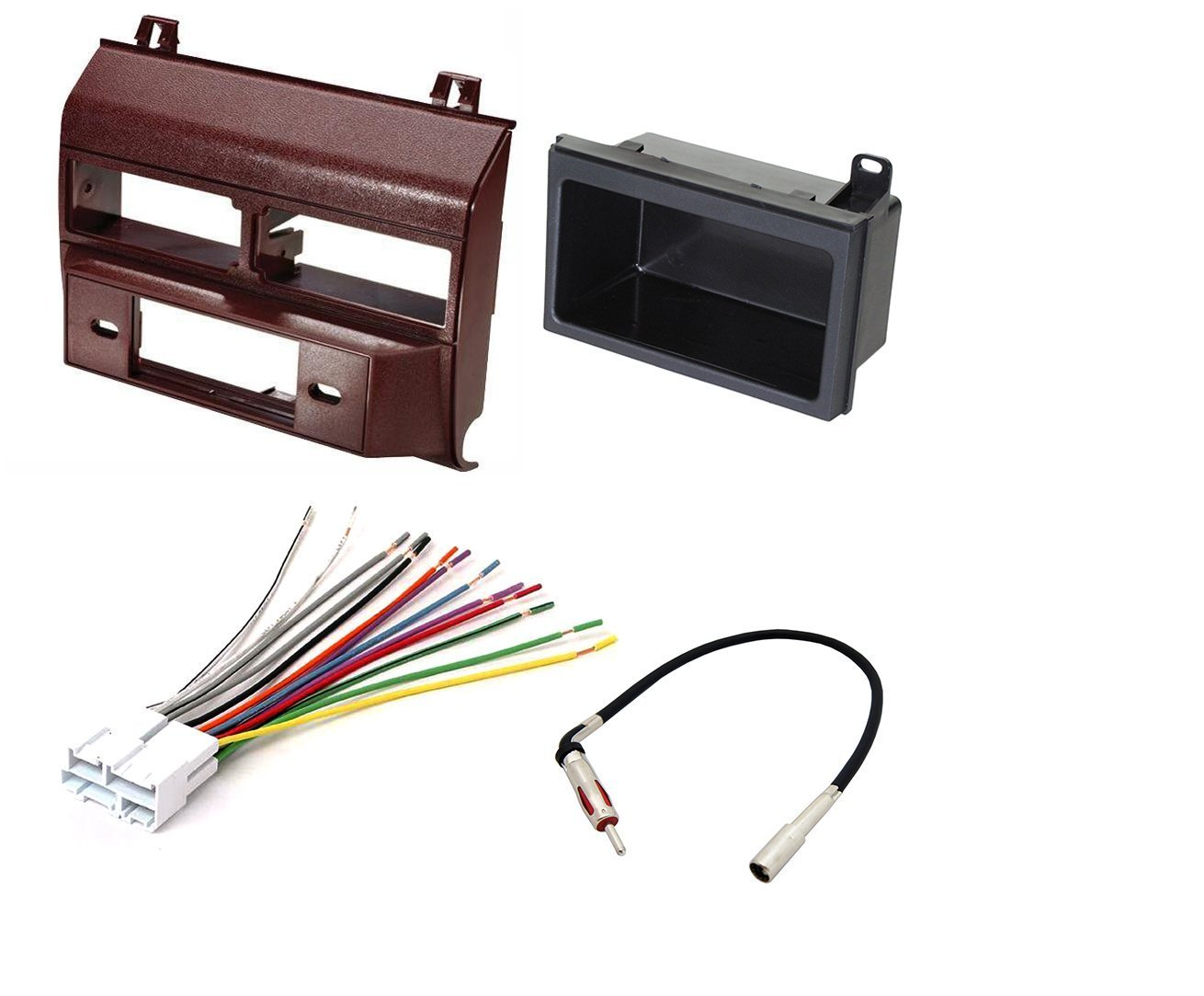 hight resolution of get quotations car stereo radio dash installation mounting kit add on storage pocket wiring harness radio antenna