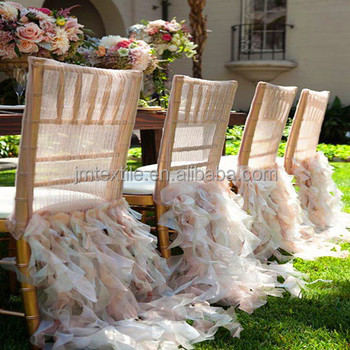 ruffle chair sashes dining room captain chairs wedding decoration pure white chiffon chaivari curly willow sash