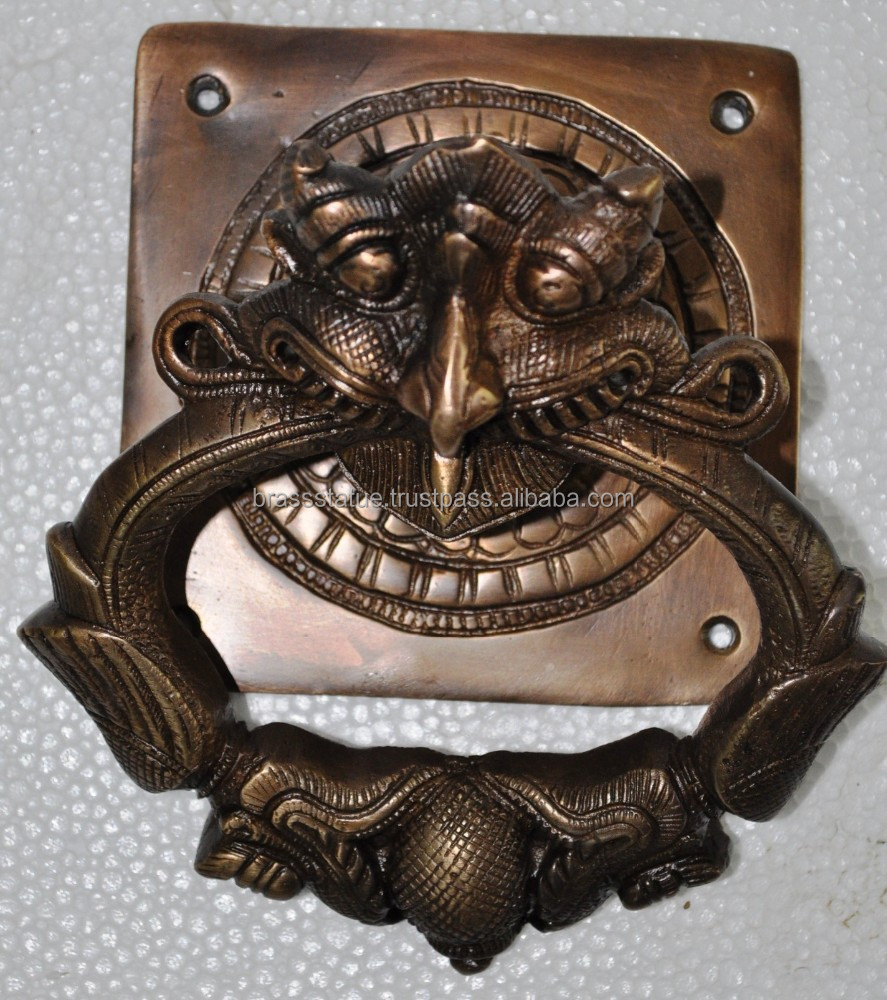 hight resolution of heavy brass door knocker yali face to protect evil eye