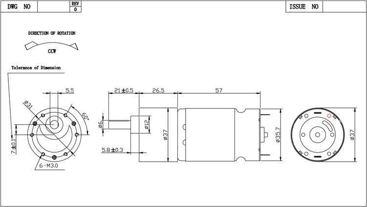 Dc Gear Motor 12v 100rpm 1000rpm 15kg.cm Ce Rohs Fcc