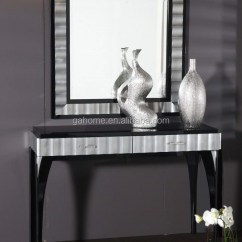 Living Room Console Tables Mirrored Ideas Red Leather Sofa Black Framed Mirror And Table Set Buy Product On Alibaba Com