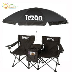 Double Camping Chairs Folding Full Body Massage Chair W Umbrella Table Cooler Foldable Beach With Backpack