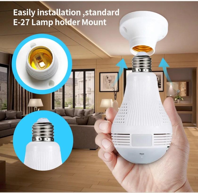 New design 960p hidden spy camera light bulb 1.3mp wifi bulb camera 360 degree