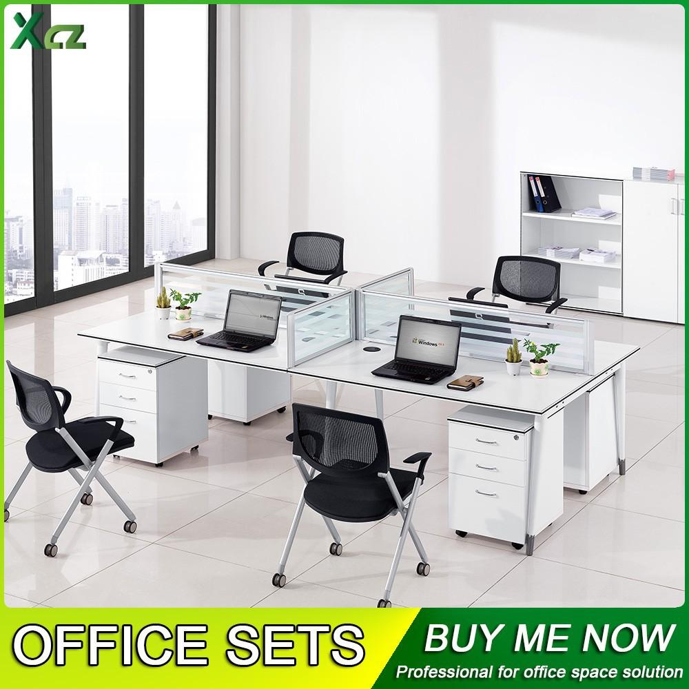 Estaciones de trabajo de escritorio de oficina para 4