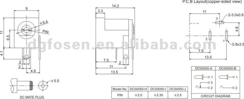 Dc Power Jack Socket 2.0mm Barrel-type Pcb Mount Dc00050