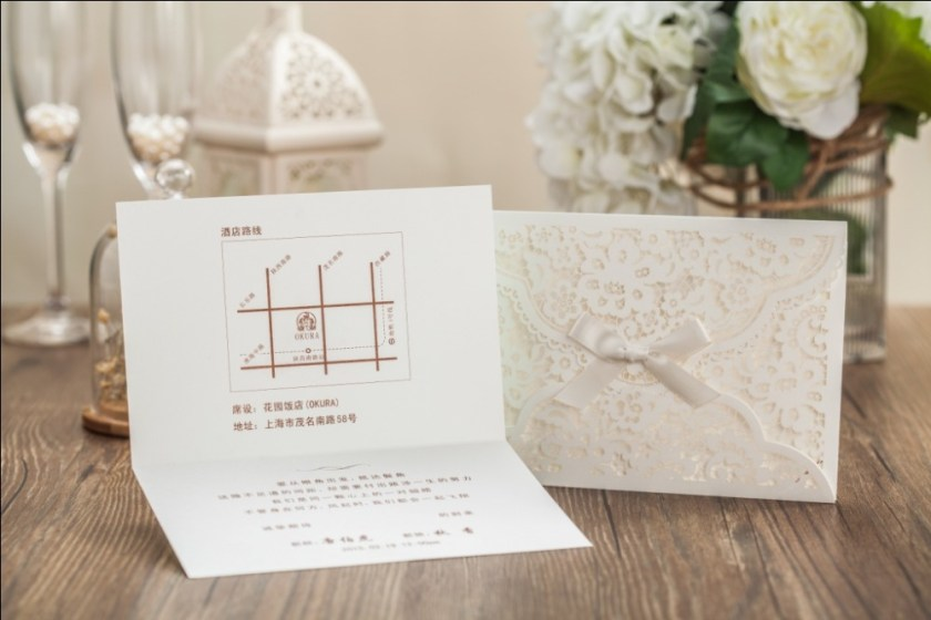 White Laser Cover Wedding Invitation Card With Green Inner Sheet Business Birthday
