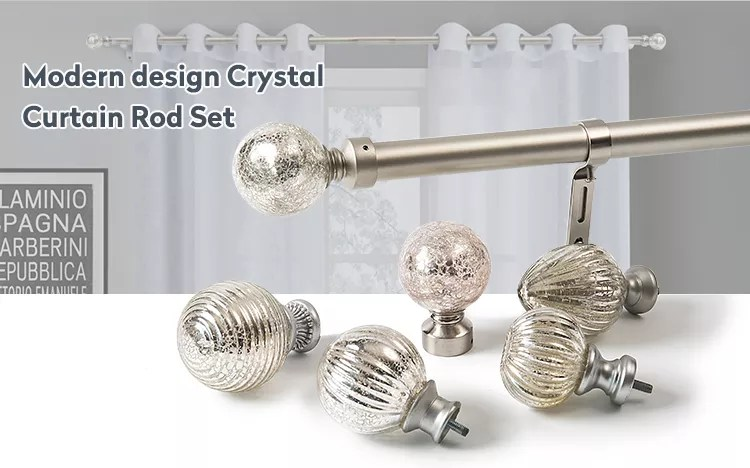 china factory curtain rod set crystal ball finial glass curtain rod accessories acrylic glass curtain finial rods for sales buy crystal glass