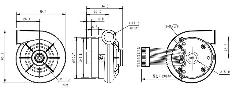 high pressure 12v brushless dc mini respirator centrifugal
