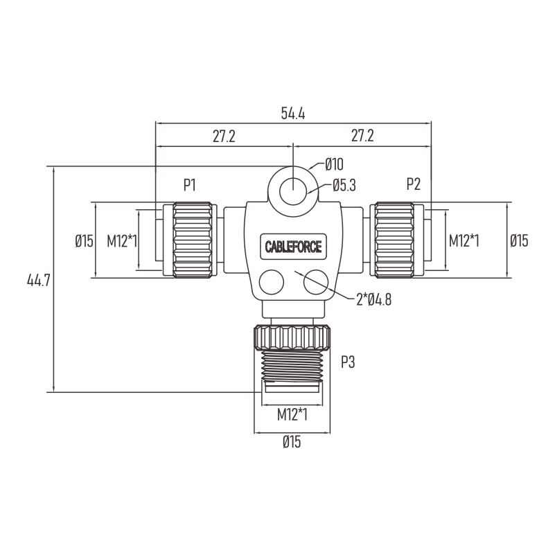 Factory Automation Non-shielded M12 4pin T Adapter