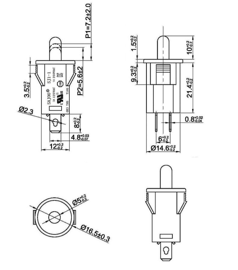 6a/250v 10a/250 2pin On Off Push Button Refrigerator Door
