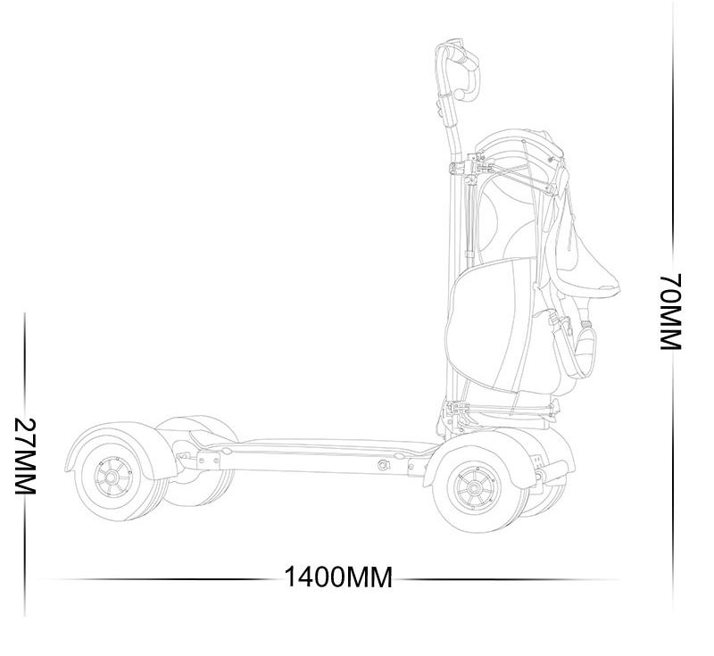 Easy Foldden Four Wheels Electric Push Golf Buggy 4 Wheel