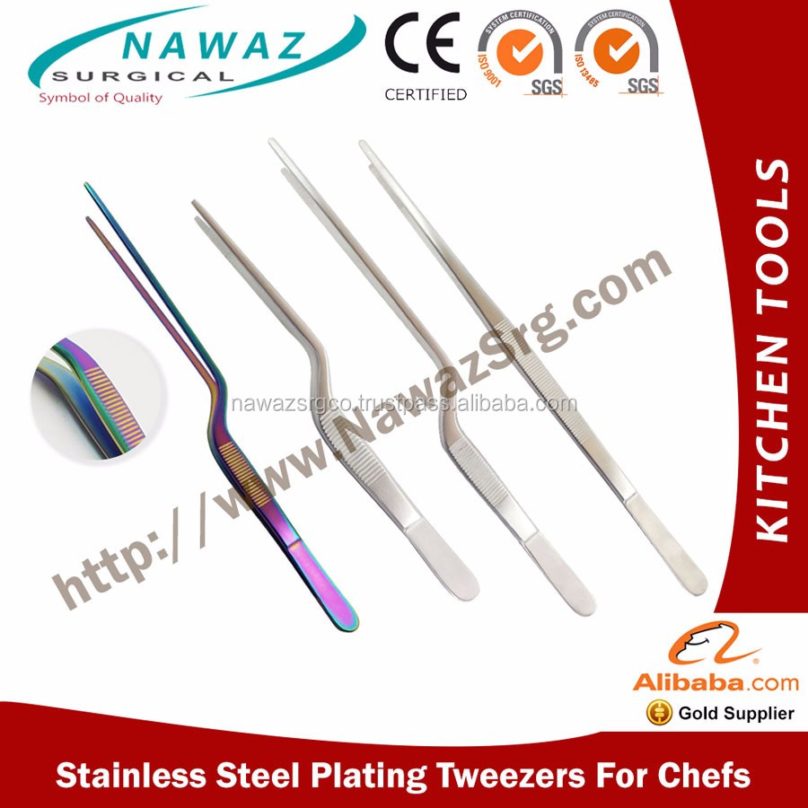 kitchen tweezers cabinets design layout tongs stainless steel chef plating buy