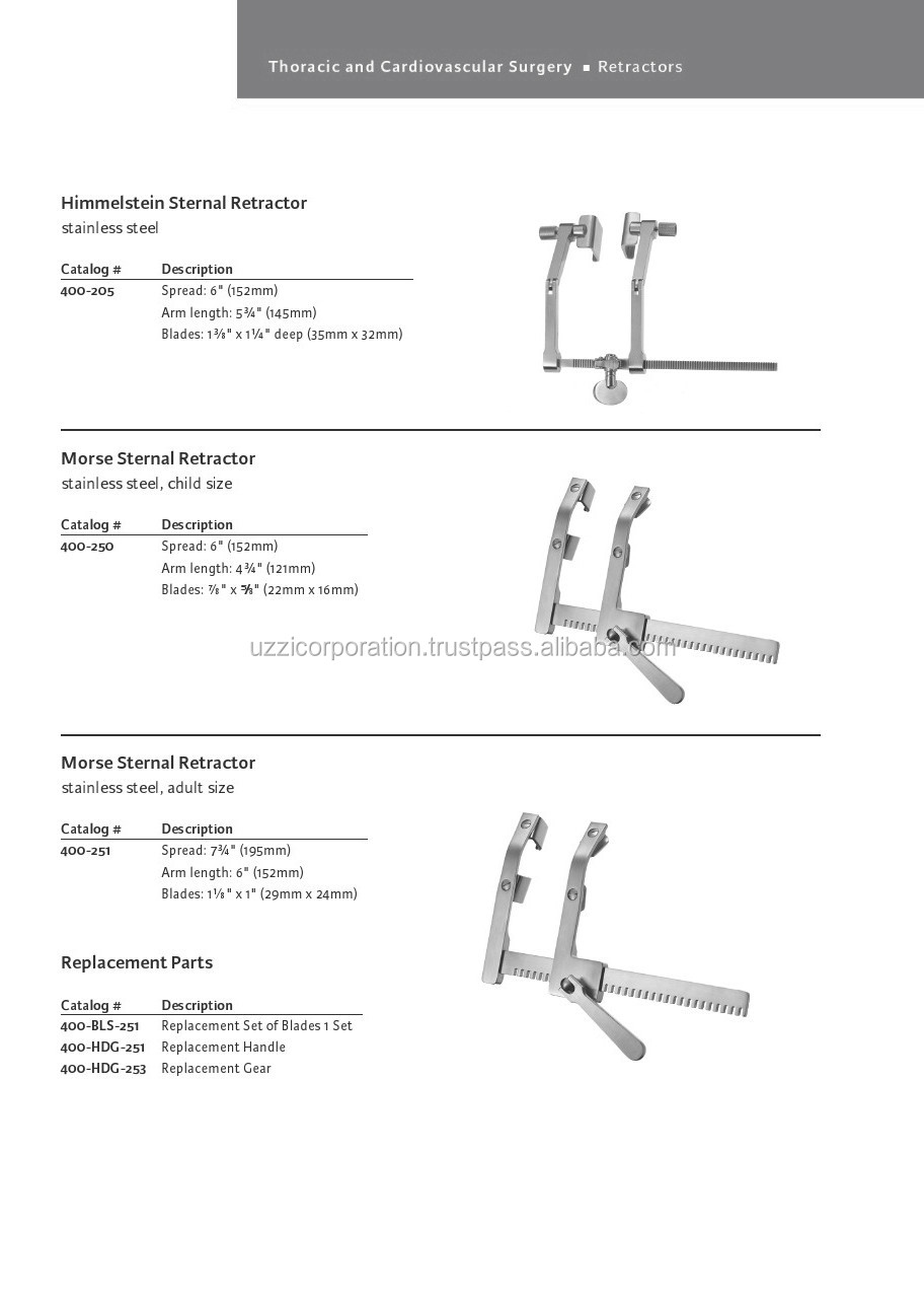Morse Sternal Retractor 4 Movable Blades 22 X 27 Mm