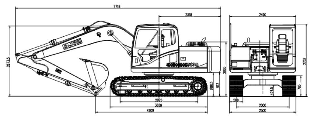 13.5tons Crawler Excavator,Bucket Capacity 0.55m3 100 Ton
