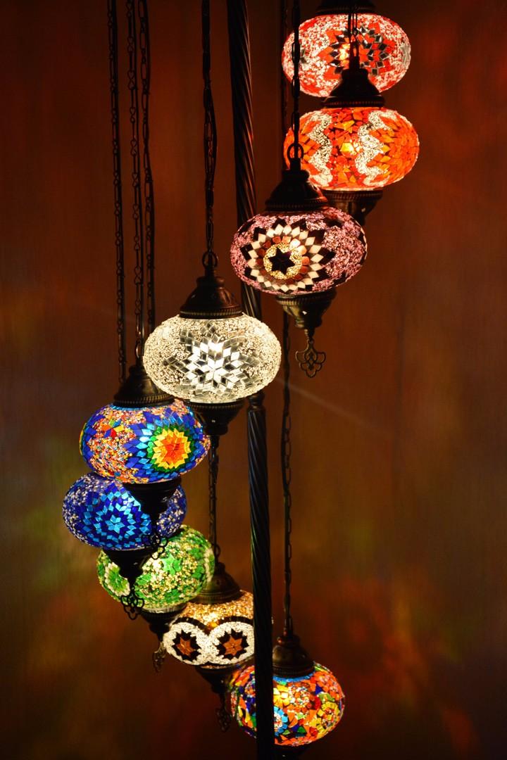 Handmade Turkish Mosaic Set Of 9 Standing LampMosaic Lamp