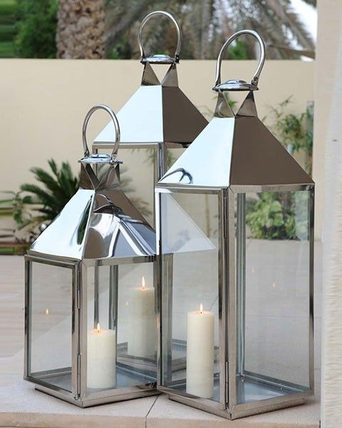 Modern Silver Outdoor Garden Stainless Steel Lantern And