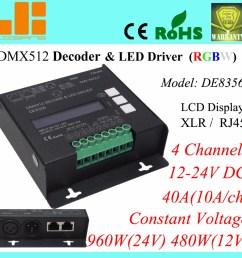 rgbw dmx decoder 4ch dmx512 led driver xlr rj45 40a 960w pn de8356 [ 1000 x 1000 Pixel ]