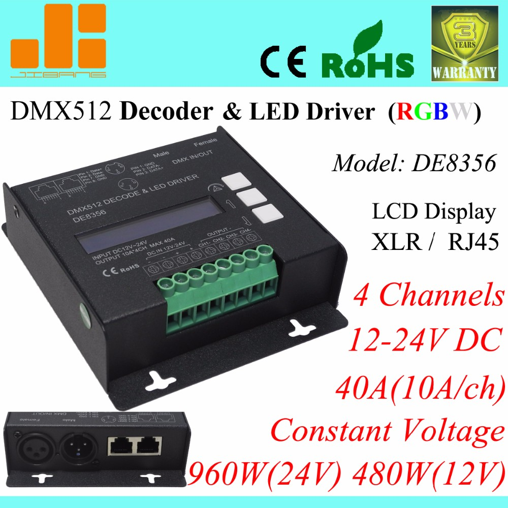 medium resolution of rgbw dmx decoder 4ch dmx512 led driver xlr rj45 40a 960w pn de8356