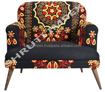 vintage arm chair replacement slings australia indian handicraft multi embroidery upholstery sofa