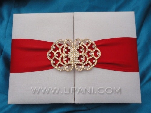 White Wedding Invitation Box With Red Ribbon And Gold Embellishment