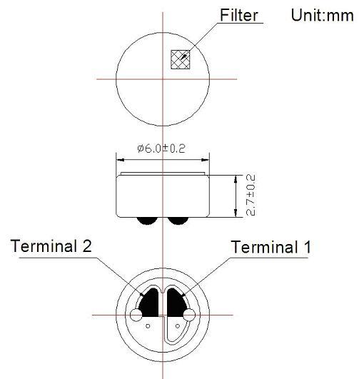 6x2.7mm 6027 Rem6027n Noise Cancelling Electret Condenser