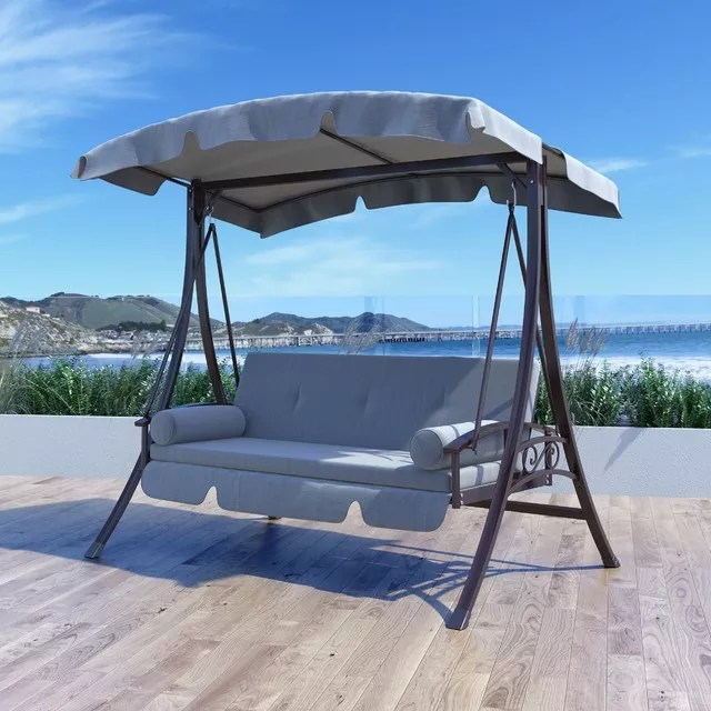 outdoor 2 person canopy swing glider hammock patio furniture daybed patio swing in charcoal and grey buy hammock swing 2 person hammock