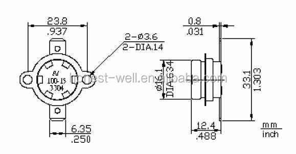 T24 15A 250V Home Appliance Bimetal Thermostat, View
