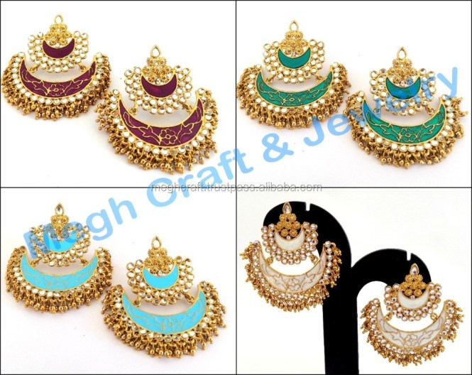 Bollywood Style Chandelier Earrings Stani Bridal Whole Pearl Oversize Fashion