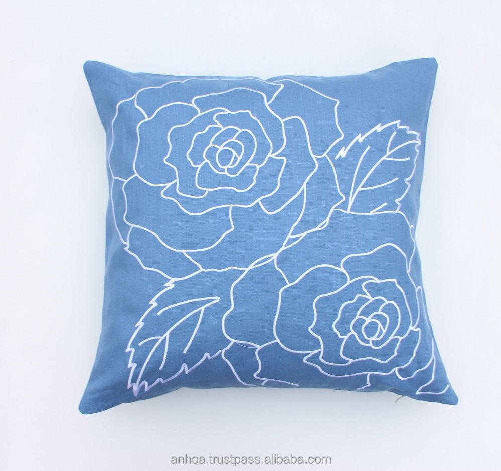 Latest design flower pillow cover handmade embroidery
