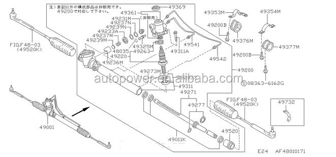 Steering Rack for Nissa CARAVAN/URVAN E24 49001-27N10 Car