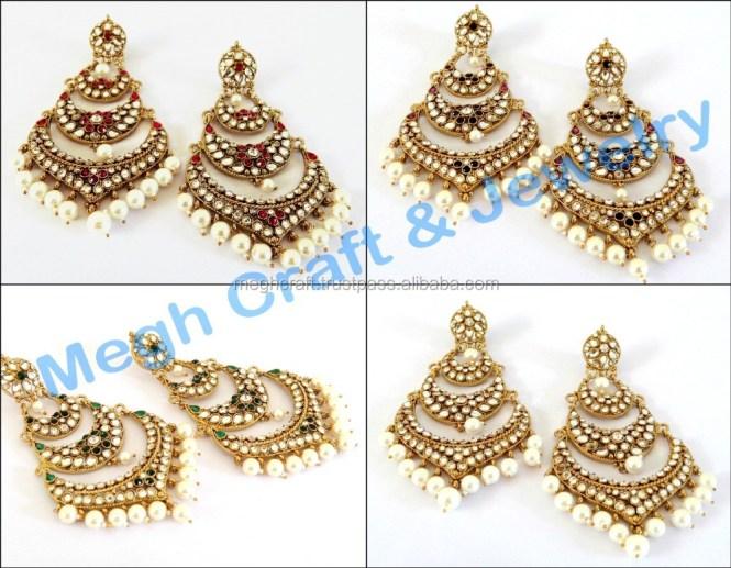 Whole Indian Chandelier Earrings Stani Kundan Jewellery Long Punjabi