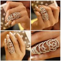 Armor Long Finger Rings-american Diamond Two Finger ...