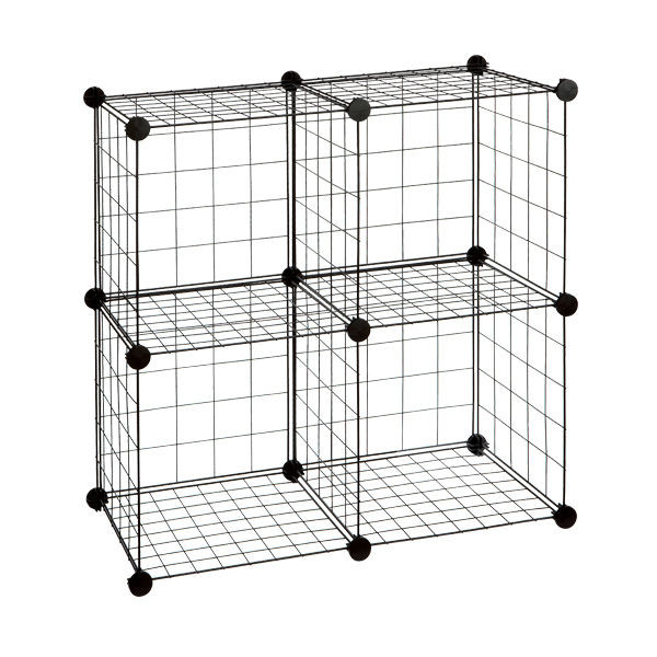 6 BLACK WIRE STORAGE CUBES MESH MODULAR GRID STORAGE RACK