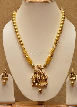 Temple Jewellery Radhekrishna Necklace Set With Golden Pearls  Buy Indian Necklace Designs