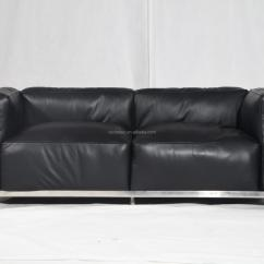 Lc3 Sofa With Ottoman India Bauhaus Style Furniture Full Grain Cow Leather Le Corbusier Grand Confort Reproduction