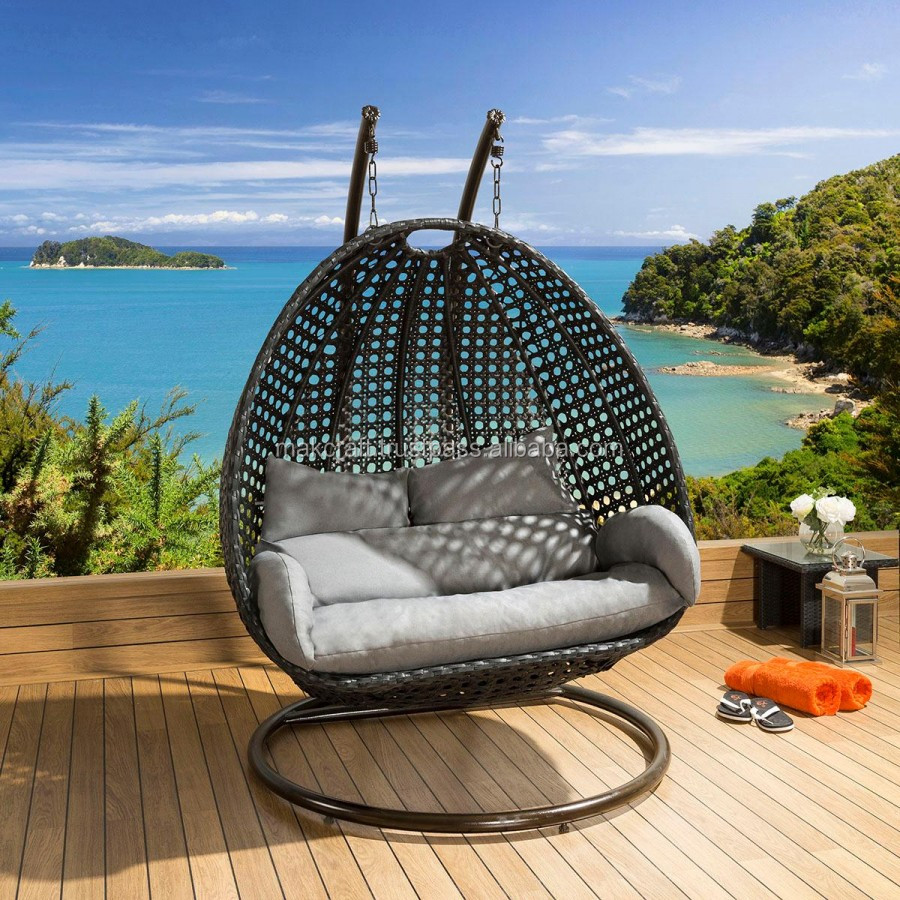 Double Egg Chair Wicker Rattan Double Swing Hanging Chair Power Coated High Quality Steel Frame Outdoor Furniture Egg Swing Chair Buy Outdoor Double Swing