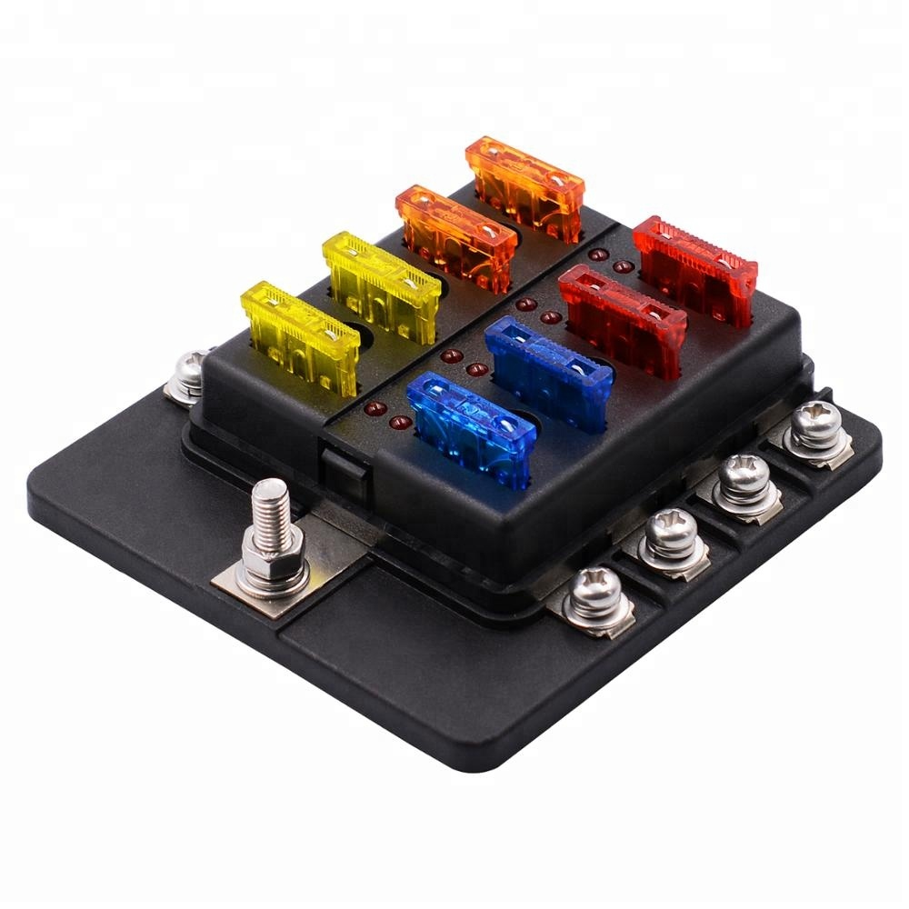 hight resolution of universal waterproof 8 way circuit car fuse blocks holder 32v dc blade tractor fuse box