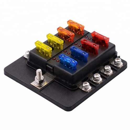 small resolution of universal waterproof 8 way circuit car fuse blocks holder 32v dc blade tractor fuse box