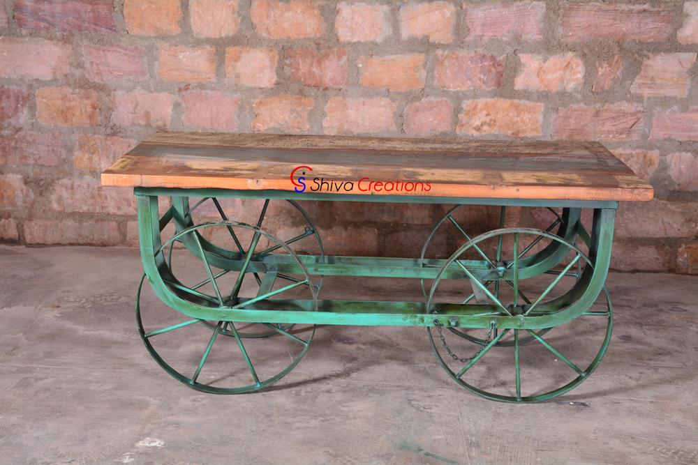Industrial Vintage Indian Thela Gadi Table Buy