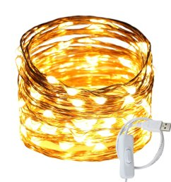 get quotations ruichen tm fairy lights usb plug power 33ft 100 led copper wire starry string lights [ 1000 x 1000 Pixel ]