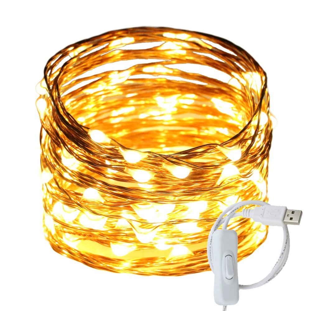 hight resolution of get quotations ruichen tm fairy lights usb plug power 33ft 100 led copper wire starry string lights