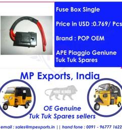 ape tuk tuk spares fuse box single [ 1000 x 1000 Pixel ]