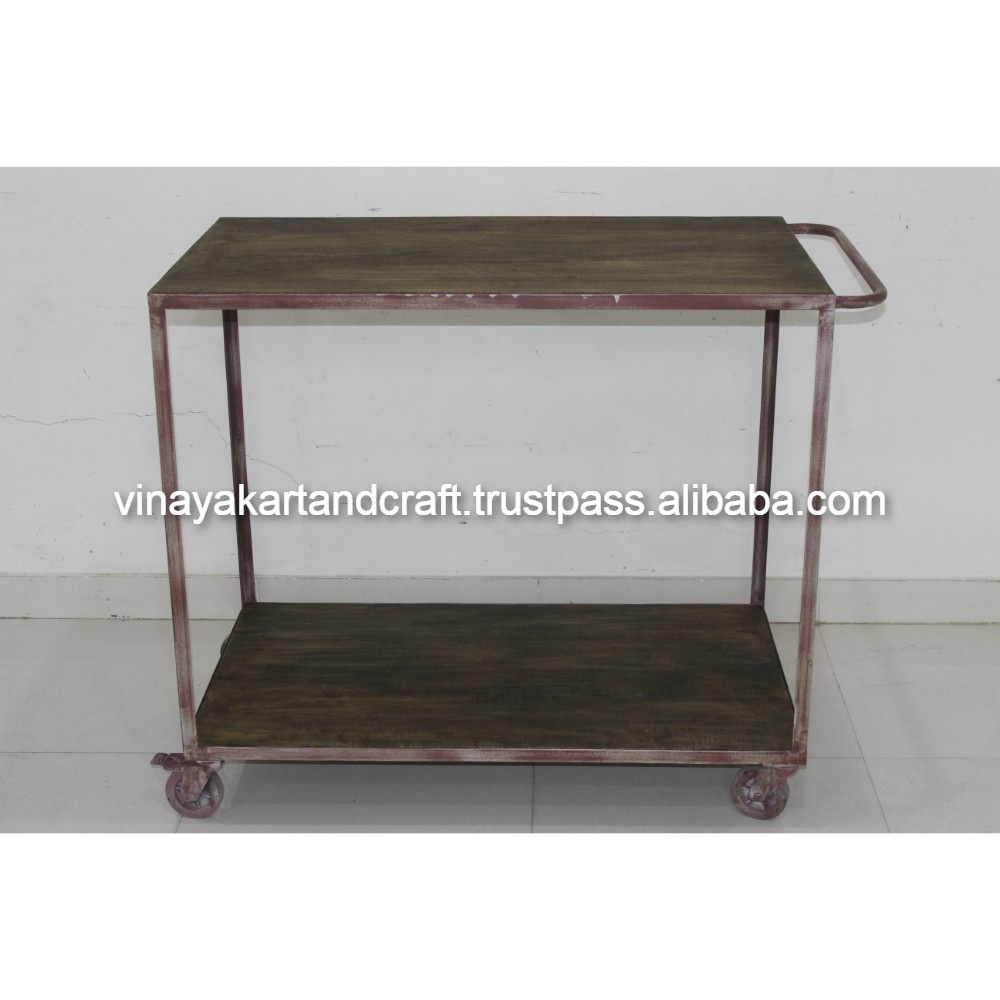wooden kitchen cart best place to buy island vintage industrial trolley jodhpur antique iron european style french design
