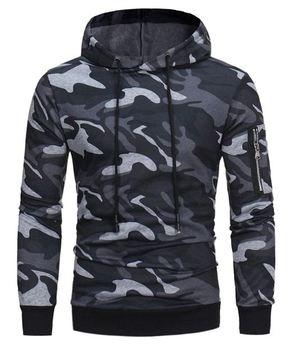 Hoodie - Camouflage pullover hoodie with zip on sleeve
