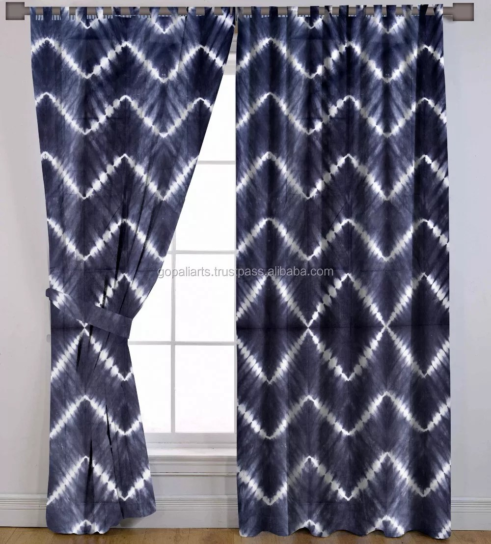 indian handmade waves design tie dye shibori cotton window drapery treatment drape panel valances door curtain buy home decor curtain set fabric