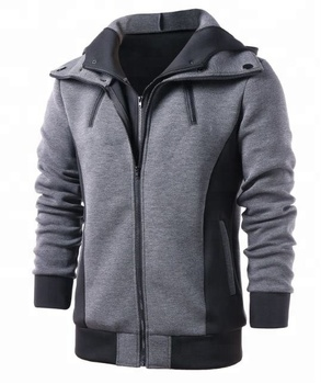 Hoodie - Fashion design wholesale fleece hoodie with leather side panel